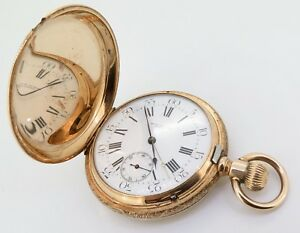 RETAILED-BY-WRIGHT-KAY-amp-CO-DETROIT-A-FINE-14K-GOLD-HIGH-GRADE-POCKET-WATCH