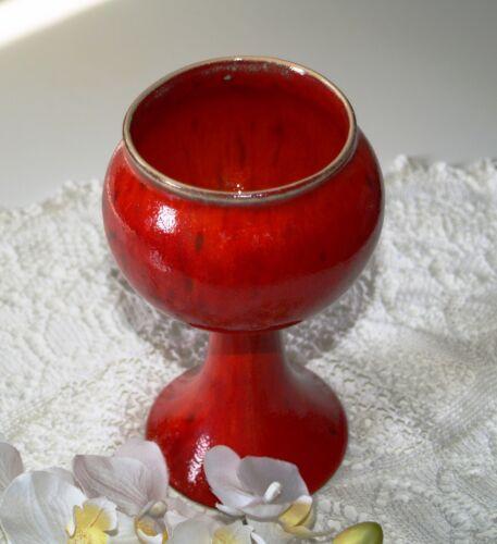 großer Weinkelch Kelch aus Keramik rot getöpfert Handarbeit ehem Dawanda