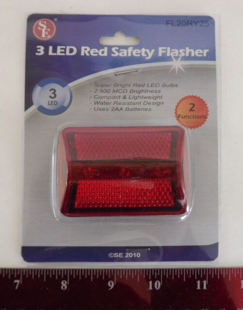 New 3 LED Red Safety Flasher with 2-Functions Bicycle Light
