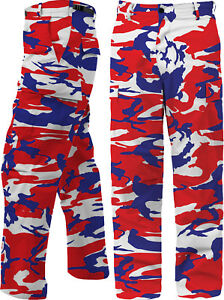 Red-White-Blue-Camo-BDU-Pants-USA-Patriotic-Army-American-Military-Fatigues