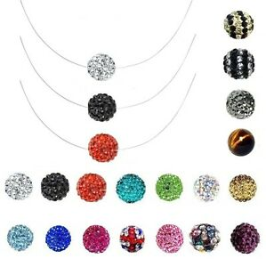 collier boule shamballa sur fil nylon de peche longueur couleur au choix ebay. Black Bedroom Furniture Sets. Home Design Ideas