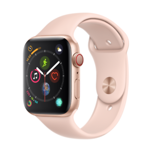 Apple-Watch-Series-4-LTE-44mm-Aluminiumgehaeuse-Gold-mit-Sportarmband-Sandrosa