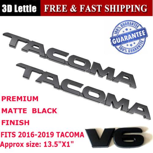 3PC 2016-2018 Toyota Tacoma Tag MATTE Black Door Emblem Decal Badge Nameplate V6