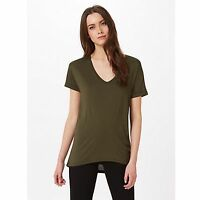 Miss Selfridge Longline V Neck Tee T Shirt - Khaki Green - Size 14 12