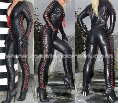 Genuine Leather Women Catsuit Jump Suit Club Wear Echt Leer Jumpsuit Laced Up