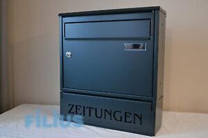 Details zu Zaunbriefkasten FK1Z Standardbriefkasten RAL 7016  (anthrazitgrau) Zeitungsfach