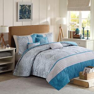 Image Is Loading Beautiful 7pc Modern Blue Teal Aqua Tan Grey