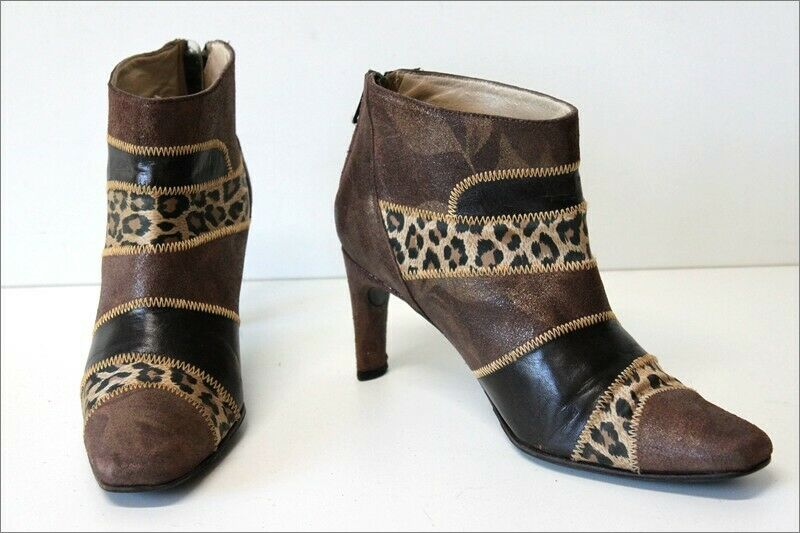 AZUREE CANNES Boots Booties Leather Panther Print T 5   38 BE