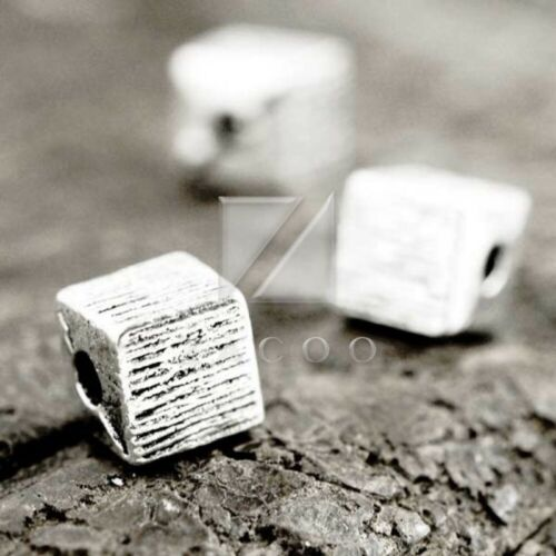 50pcs Tibetan Silver Loose Spacer Charm Metal Bead Jewelry Findings 6x6x6mm