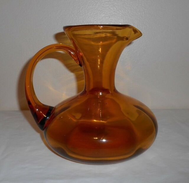 Amber Gold Glass Pitcher Vase 6 Tall 575 Dia Finished Bottom