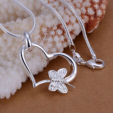 Damenhalskette Herz Ring Halskette Schmetterling pl. mit  Sterlingsilber