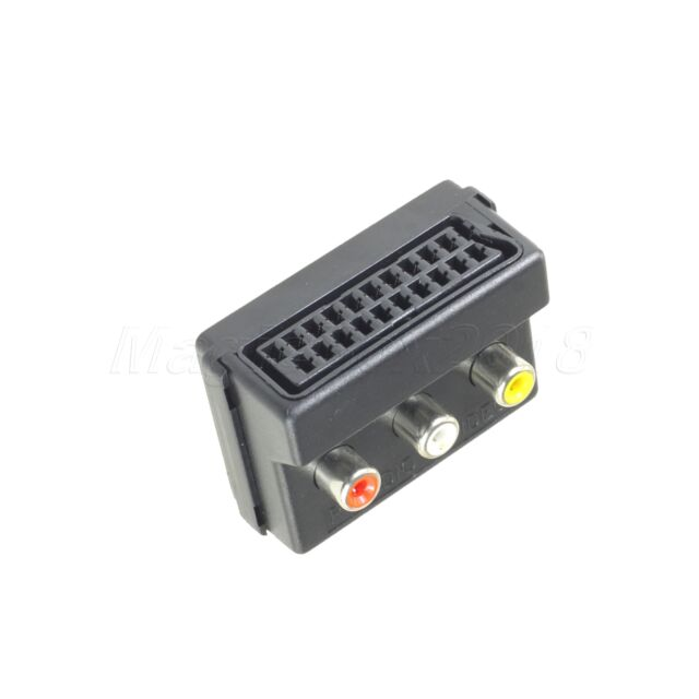 New RGB Scart Female plug to 3 RCA jacks Phono SVHS TV Converter Adapter