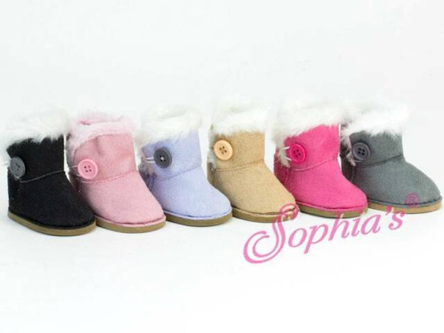 BLACK SUEDE BOOTS SHOES W/ Button fit American Girl Dolls NEW EWE SHERPA