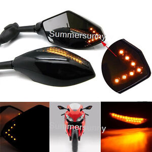 Universal LED Turn Signal Motorcycle Rear view Mirrors For Yamaha Suzuki Honda