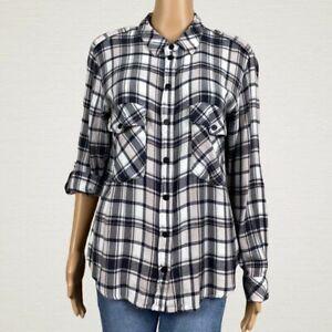 Sanctuary Boyfriend Plaid Flannel Snap Front Shirt Top LARGE White Black Pink