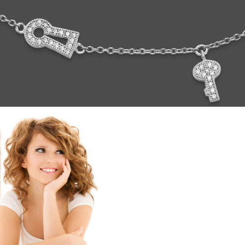 Las mujeres ajorcas con clave ojo de cerradura seguidores real plata 925 fußkette