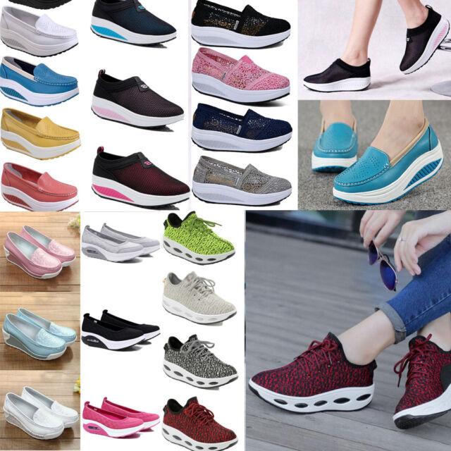 Women's Platform Shoes Lace UP Shape Ups Toning Fitness Walking Sport Sneakers