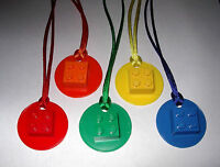 5 Lego Brick 2x2 On Disk Necklaces With Color Cords Party Favor Birthday