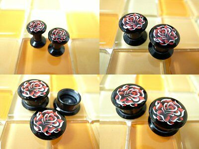 Multiple Size Red Sexy Rose Screw Flesh Tunnels Ear Plugs #15