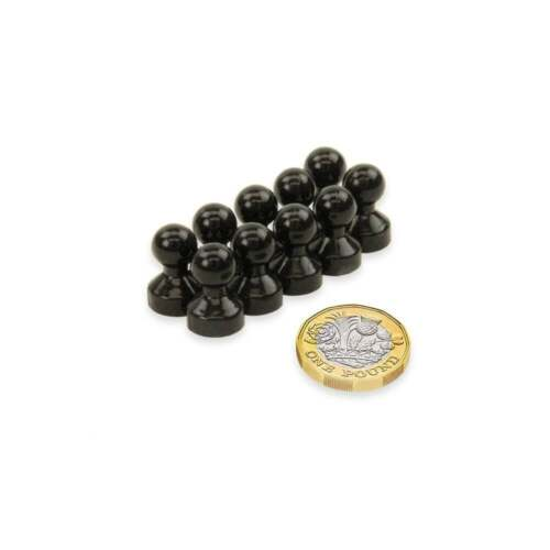 Small Acrylic Push Pin Magnet Black 1 pack of 10