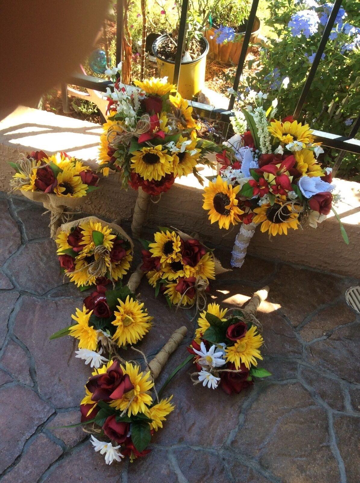 Bridal bouquet decorations sunflowers and reception table pkg