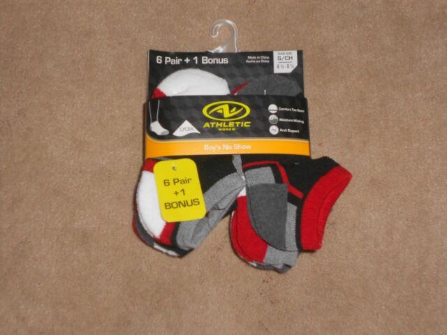 Athletic Works Boys No Show Socks 6 Pairs