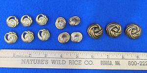 Vintage Love Knots  Buttons Rhinestones Gold Tone Metal Three Designer Buttons