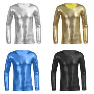 Hommes-Metallique-Aspect-Mouille-PVC-Cuir-Brillant-T-shirt-Top-Club-Wear-V-cou-robe-fantaisie