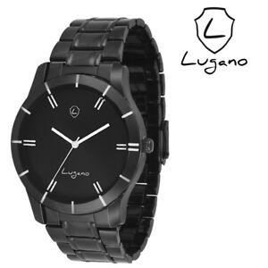 Lugano LG 1041 Black Metal Analog Watch For Men/Boys