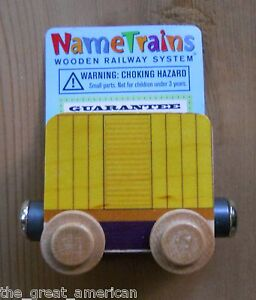 Name Train Yellow Box Car - Thomas Compatible Wooden Wood Toy Toys Made in USA
