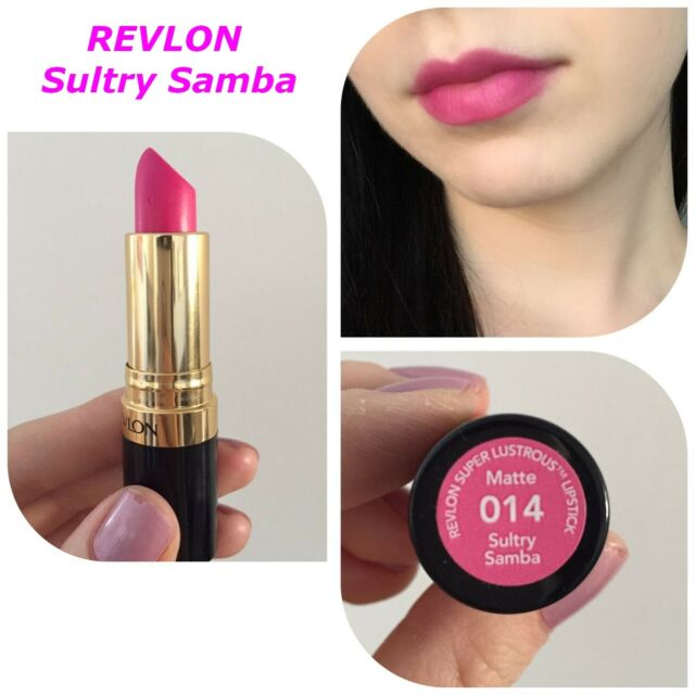 REVLON Super Lustrous Lipstick in Sultry Samba 014. Matte Hot SEXY pink-fuschia