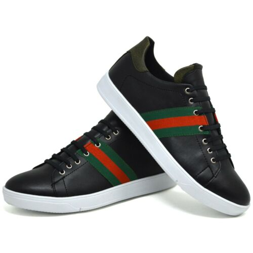 Mens Designer White Faux Leather Sneakers Black Classic Lace Up Trainers