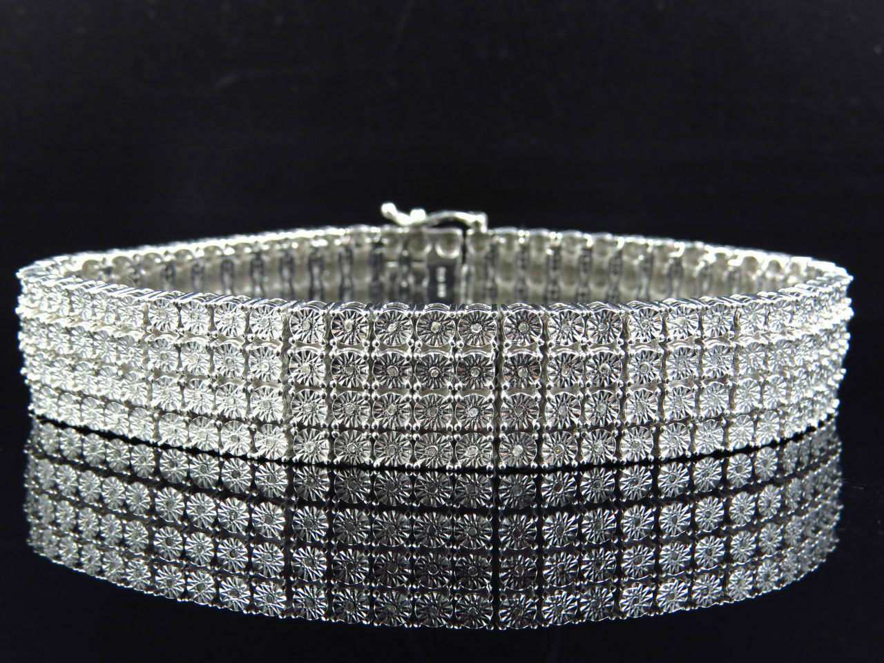 Men's 14k White gold Finish Round Cut 4 Row 17 MM Diamond Bracelet 8.5  Inch