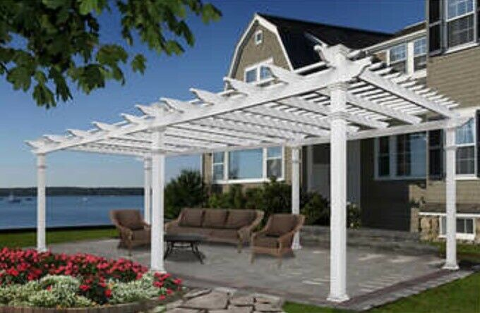 Grande 12 X24 White Vinyl Pergola Outdoor Patio New Ships From Factory For Sale Online