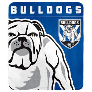 123783 Canterbury Bulldogs Nrl Team Logo Polar Fleece Throw Blanket