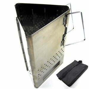 Steel Triangle Folding Charcoal Starter Grill Baket Bbq