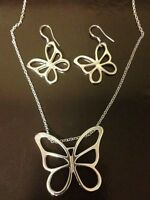 Sterling Butterfly Pendant With 20 Inch Silver Chain 2 Inch Across & Earrings