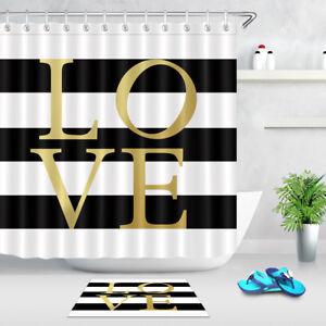 Image Is Loading Gold Love Black Amp White Stripes Shower Curtain