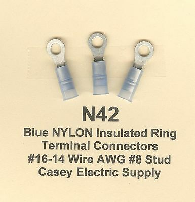 25 Blue NYLON Insulated RING Terminal Connectors #16-14 Wire Gauge AWG #10 Stud