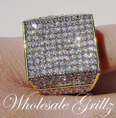 HUGE $259 MENS XXL 14K GOLD GP SIMULATE DIAMOND BLING HIPHOP PINKY RING NEW!