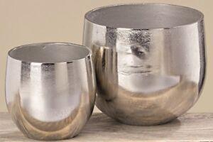 2 Blumentopfe Silber Metall Pflanztopf Aluminium Massiv Blumentopf Pflanzentopf Ebay