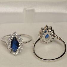 Bague Princesse T60 Oeil Bleu Marquise Saphir Cz Argent Massif 925 Dolly-Bijoux
