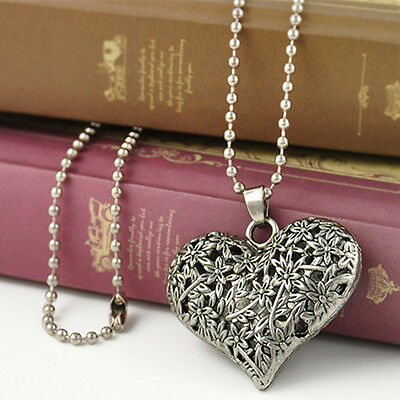 Vintage Womens Carved Silver Tone Heart Flower Long Chain Pendant Necklace Gift