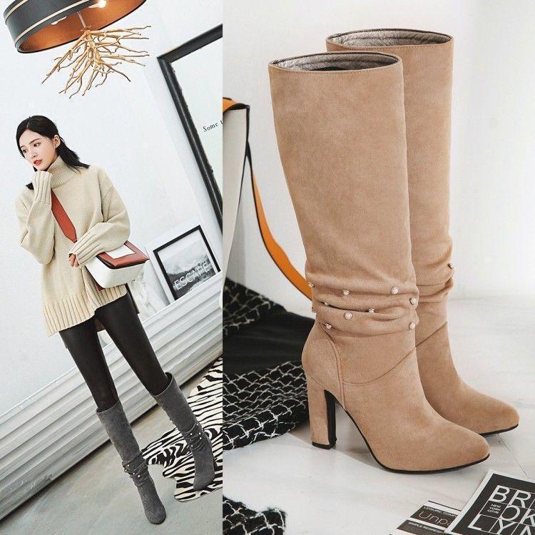 Mujer Zapatos De Tacón Bloque Tire de de de granos la rodilla botas altas Slouch De Invierno Zapatos Nuevo Vogue  barato