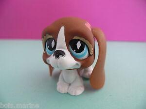 petshop chien basset hund blanc marron / white brown bassett dog N° 502