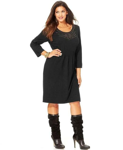 Buy Spense Womens Sweater Dress Black 3 4 Sleeve Studded Pullover ... d1f19d511e