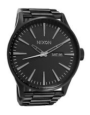 Nixon A356001 Sentry SS All Black Day Date Stainless Steel Band Men Watch New
