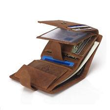 Mens Leather Vintage Clutch Wallet Credit Card Purse Cash Coin Holder Brown