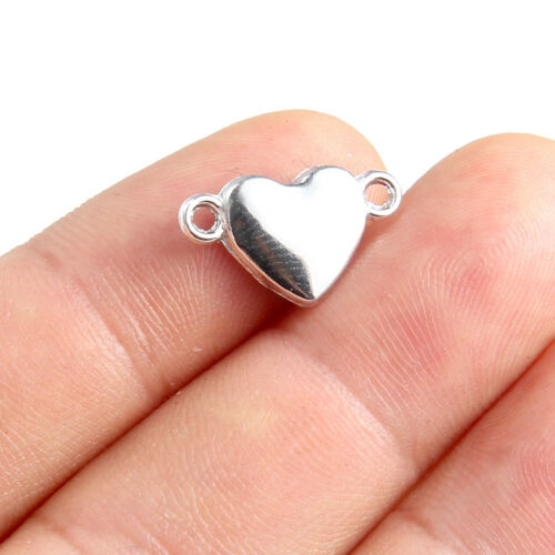 10Pcs Silver Heart Shape Connector Charm Beads DIY Nacklace Bracelet GIft