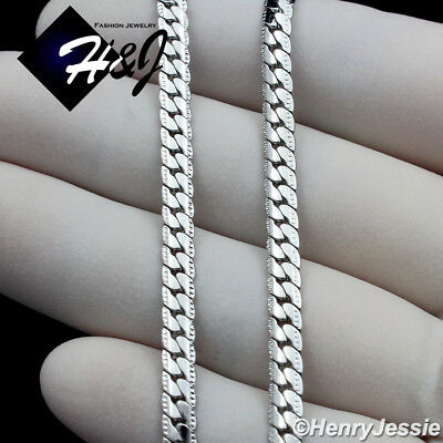 """24/""""MEN/'s Stainless Steel 4mm Silver Diamond Cut Miami Cuban Chain Necklace*N161"""